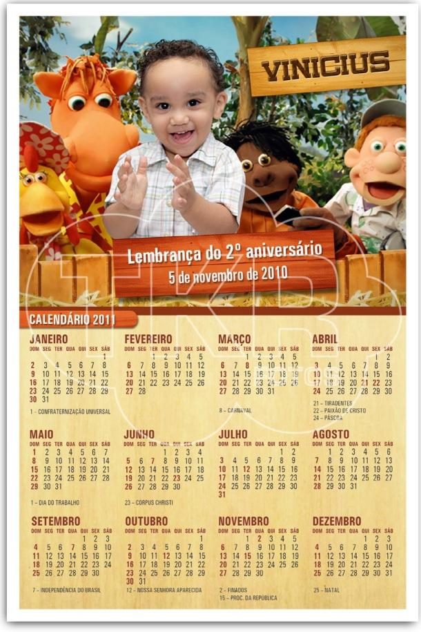 Ima de Geladeira com Calendario Vinicius