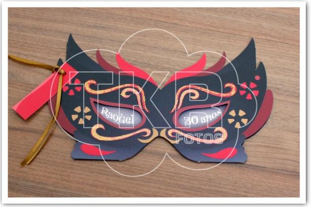 Convite Festa Fantasia Mascara Vermelha