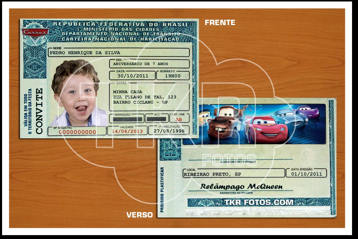 Convite Carteira Motorista Carros Tkrfotos